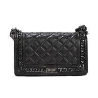 Leather Quilted Medium Black Leather Bag