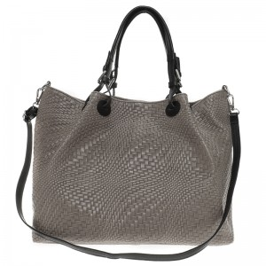 Leather shoulder - hand bag gray  - Made in Italy