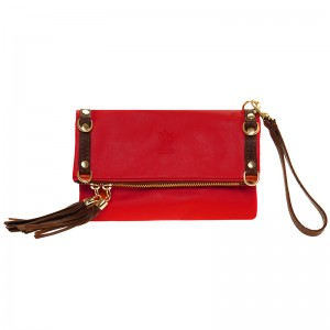 Leather hand-shoulder bag, two coloured, red - taba
