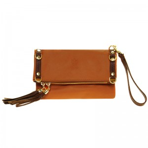 Leather hand-shoulder bag, two coloured, taba - brown