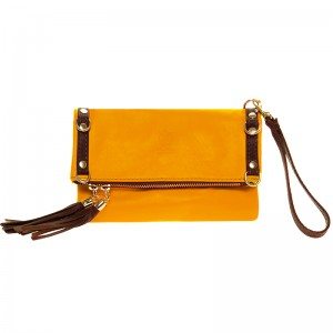 Leather hand-shoulder bag, two coloured, yellow - brown