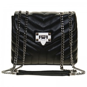 leather Leather quilted handbag -  , color black,  made in Italy