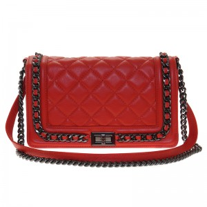 Leather Quilted Medium Red Leather Bag
