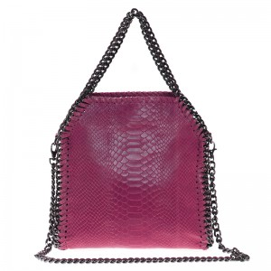 Leather Shoulder Bag Pink with Chain