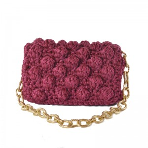 Bordeaux Handmade knitted shoulder bag Ευνομία