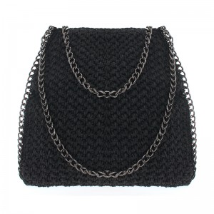 Black Hand woven shoulder bag helen