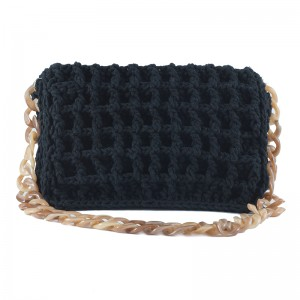 Large handmade woven shoulder bag in black Κλεοπάτρα