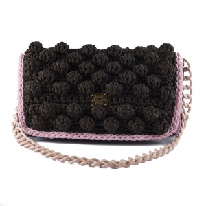 Shoulder bag brown with pink finish handmade knitted Εριφύλη