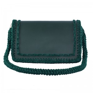 Green handmade leather woven shoulder bag big Ευρυβία