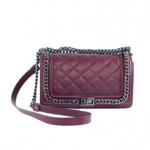 Leather Quilted Medium Bordeaux Bag