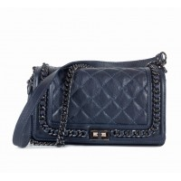 Leather Quilted Medium Blue Leather Bag